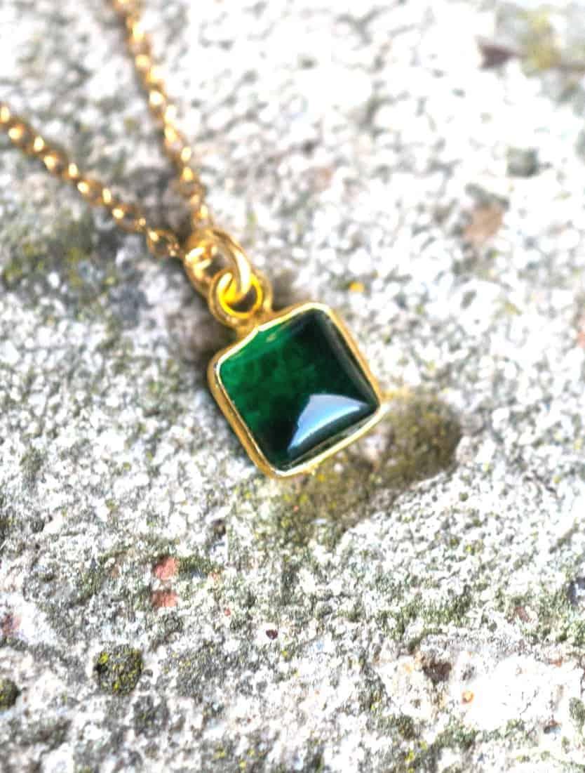 Gouden ketting met edelsteen groene Onyx van Goud op Zilver