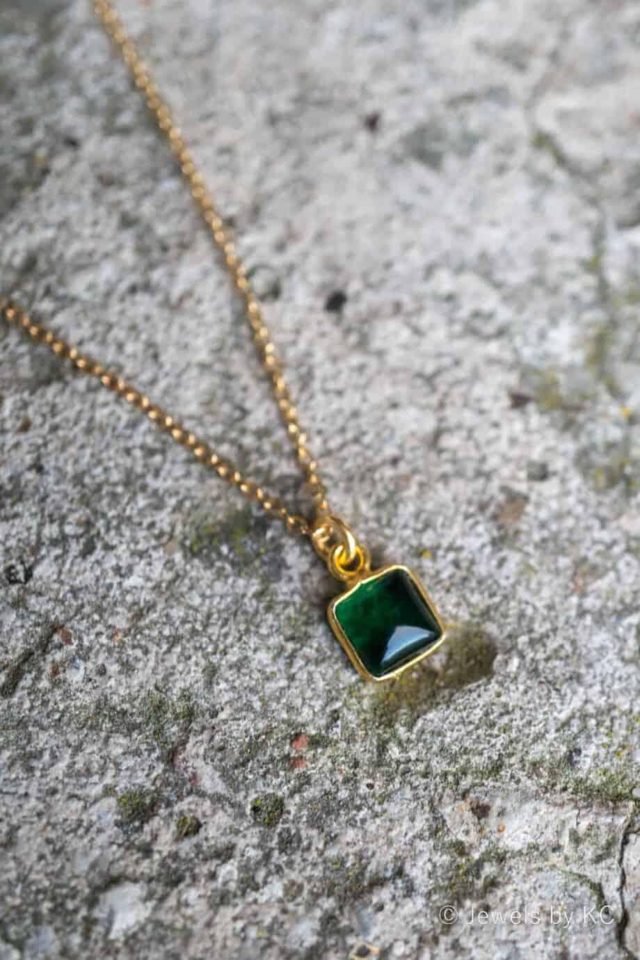 Gouden ketting met edelsteen 'Square' groene Toermalijn van Goud op Zilver