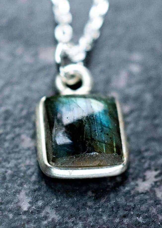 Zilveren-edelsteen-ketting Square groene Labradoriet van Sterling Zilver