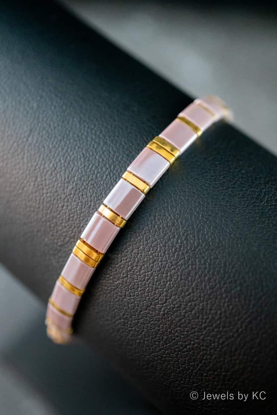 Handgemaakte Miyuki Tila armband 'Purple Rain'