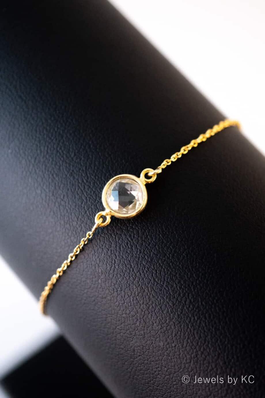 Gouden edelsteen armband groene 'Amethist' van Goud op Zilver