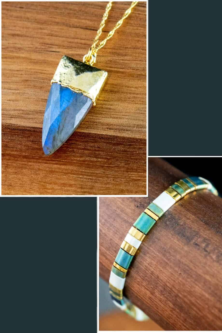 Gouden ketting met hanger blauwe labradoriet edelsteen