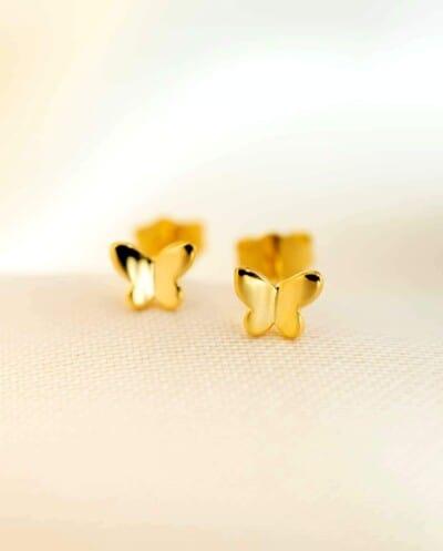 Gouden Oorbellen vlinder 'Golden Butterfly' van Goud op Zilver