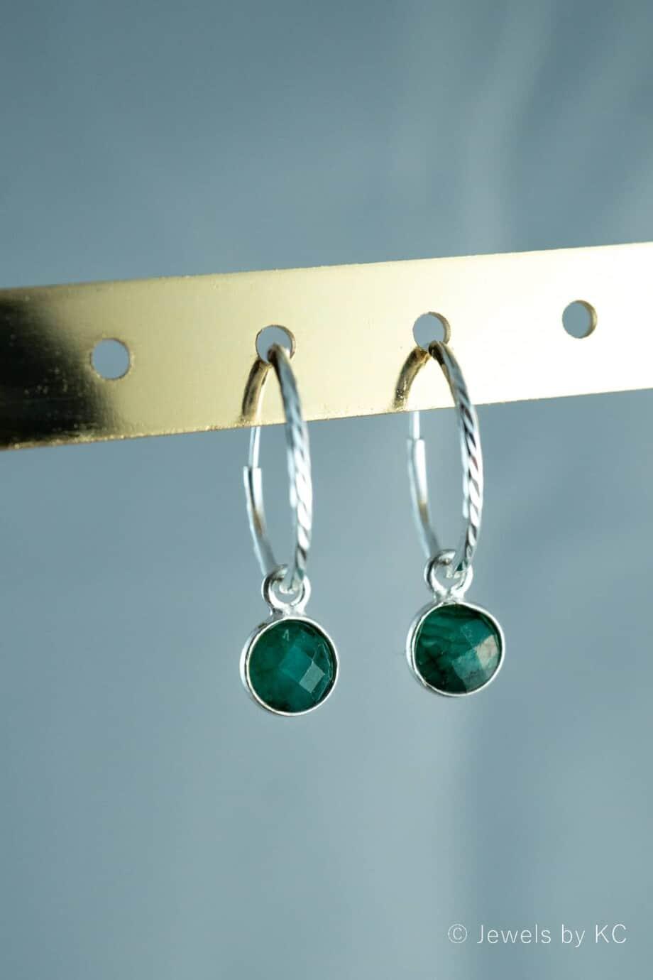 Zilveren-edelsteen-Oorbellen-groene-Emerald-Sterling-Zilver
