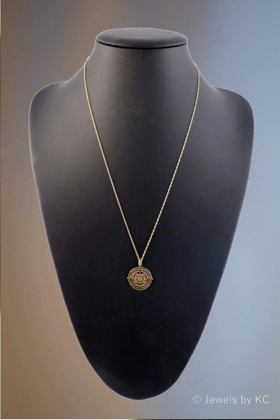 Gouden ketting Azteken Zon van Goud op Zilver-Goldplated