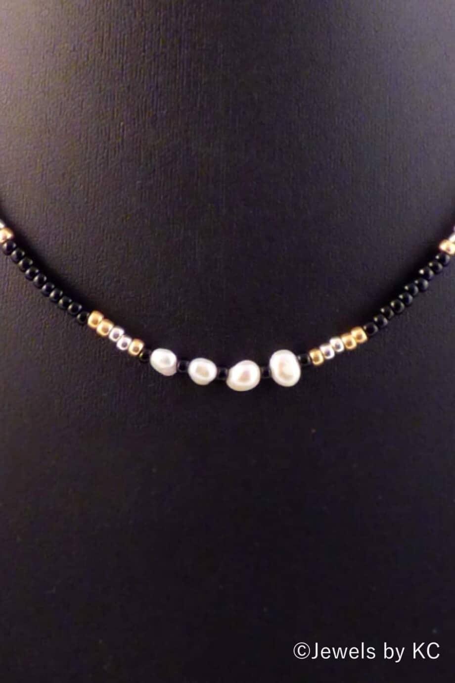 Miyuki Rocailles ketting 'Royal' zwart-goud-zilver-parels