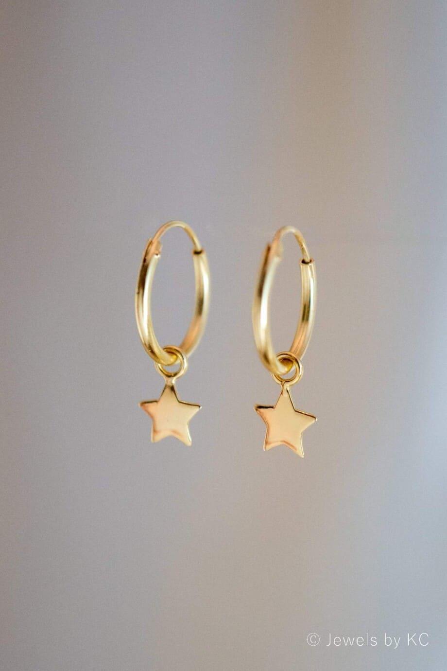 Gouden-Oorbellen-Sterretjes-van-Goud-op-Zilver