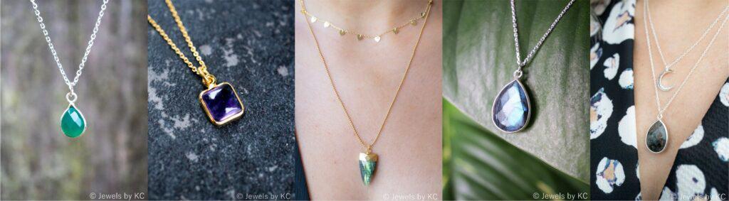 Edelsteen kettingen. Handgemaakte edelsteen sieraden van Jewels by KC.