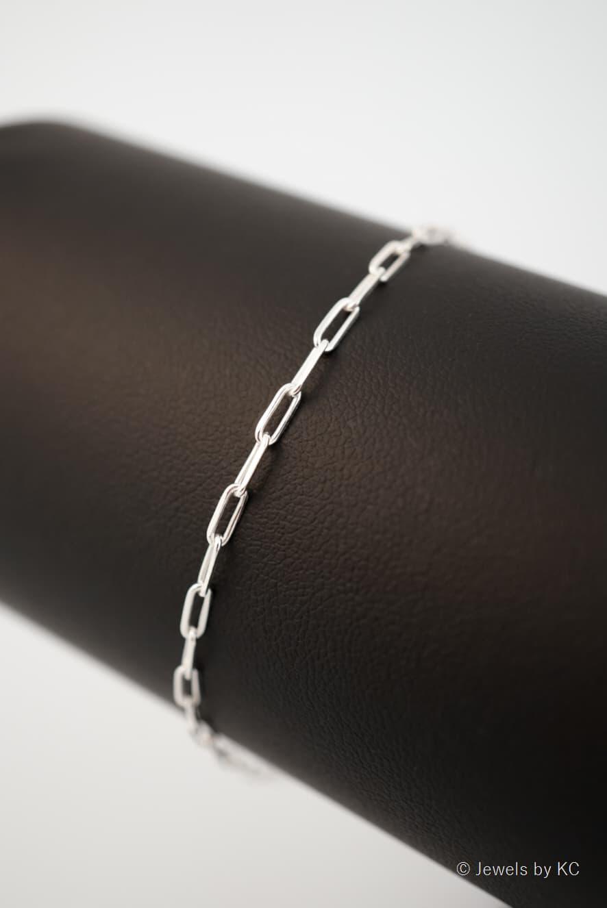 Zilveren Long boxchain armband van Sterling Zilver
