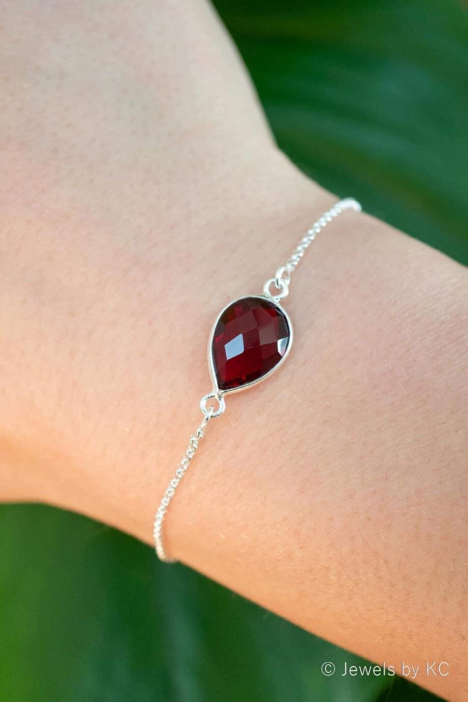 Zilveren edelsteen armband Rode 'Granaat' van Sterling Zilver
