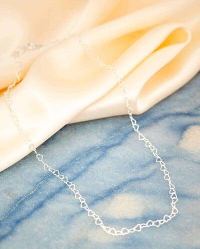 Zilveren ketting 'Hartjes' van Sterling Zilver