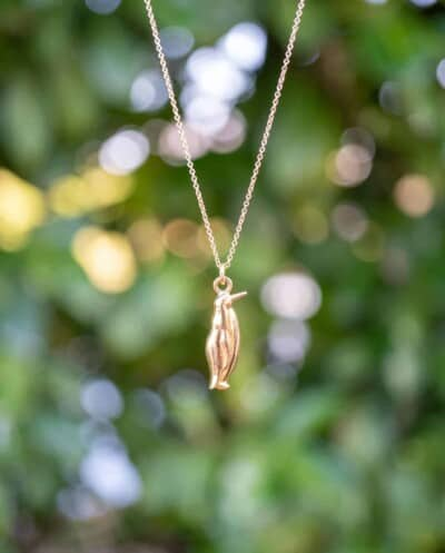Gouden ketting met hanger 'Pinguïn' van Goud op Zilver