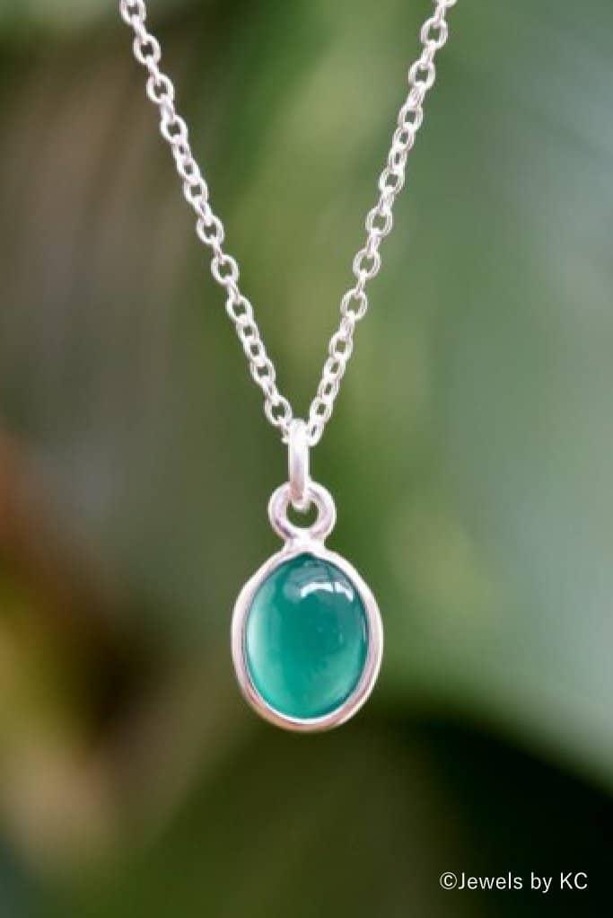 Zilveren ketting met groene 'Onyx' edelsteen van 925 Sterling Zilver