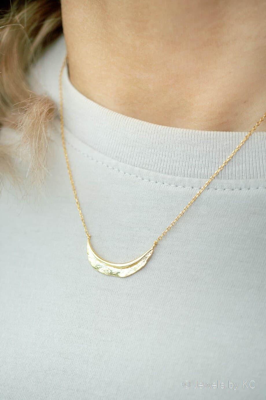Gouden ketting 'Texture' van Goud op Zilver