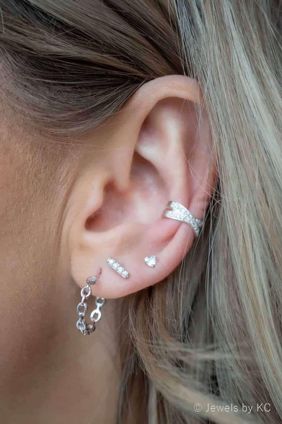 Zilveren oorbellen en ear cuff van 925 Sterling Zilver