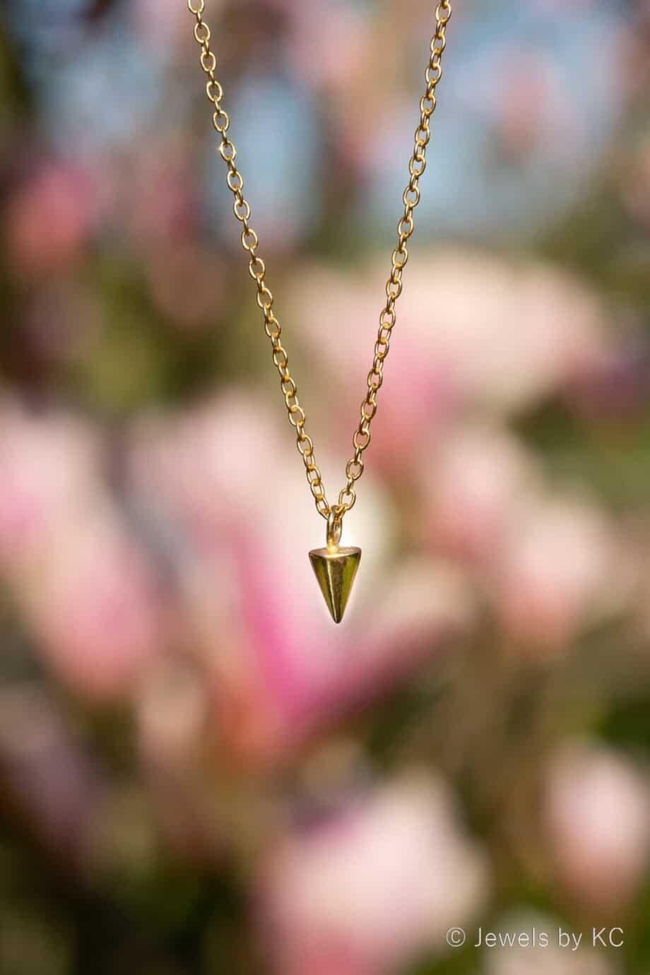 Gouden ketting met Cone hanger van Goud op Zilver