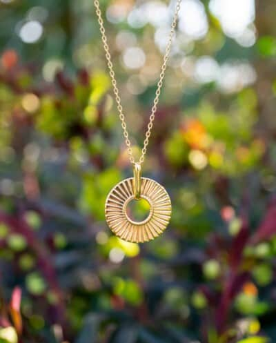 Gouden ketting met hanger 'Aura' van Goud op Zilver