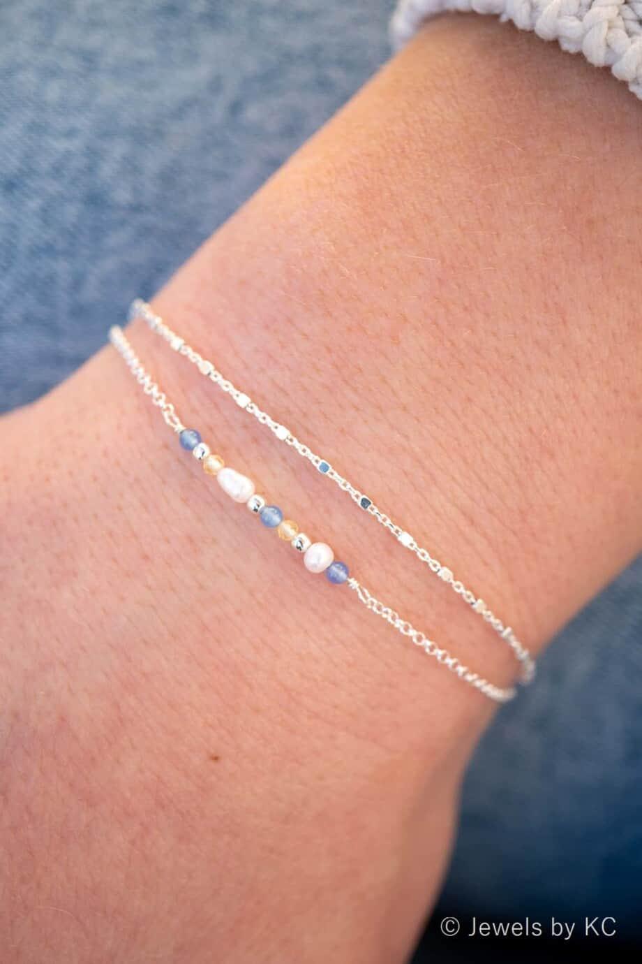 Minimalistisch Zilveren armbandje met Blauwe Jade Edelsteen en Citrien edelsteen van Sterling Zilver