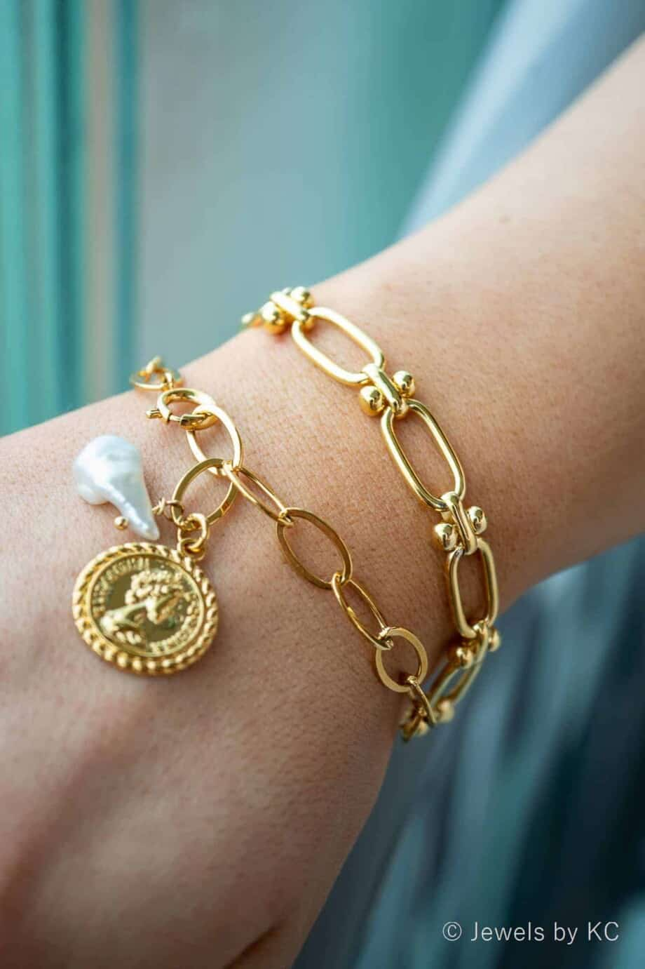 Gouden armband 'Coin and Pearl' van Goldplated messing