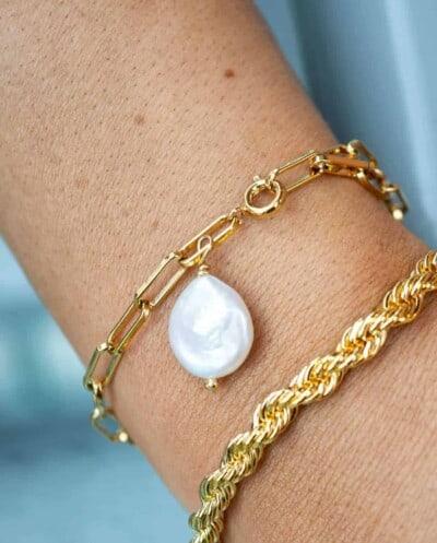 Gouden-armband 'Single pearl' van Goldplated messing