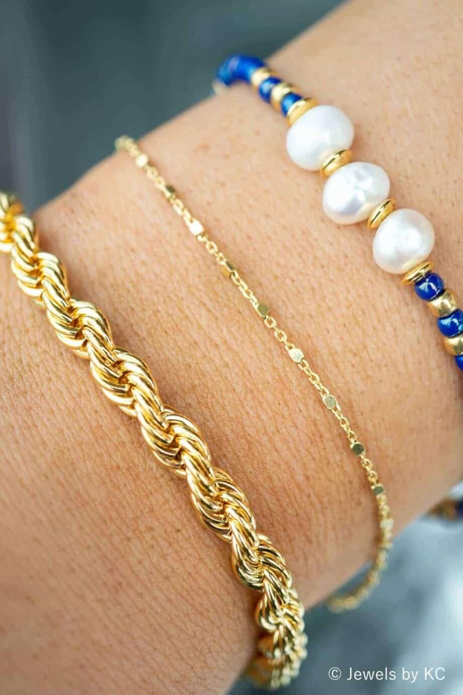 Gouden armband 'Chain bar' van Goud op Zilver