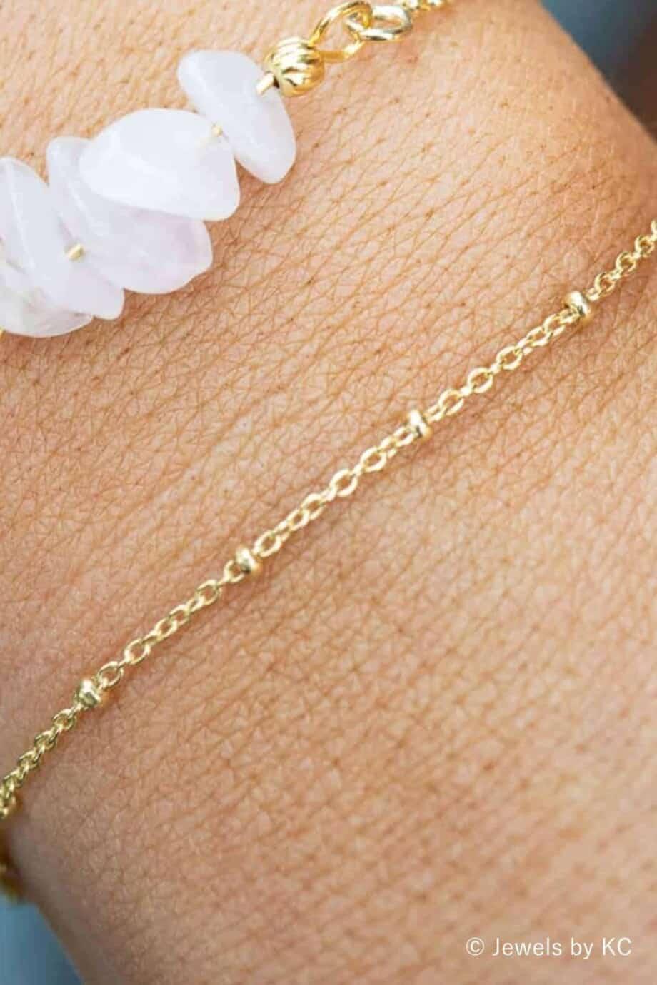 Minimalistische Gouden armband 'Minimal Satellite' van Goud op zilver
