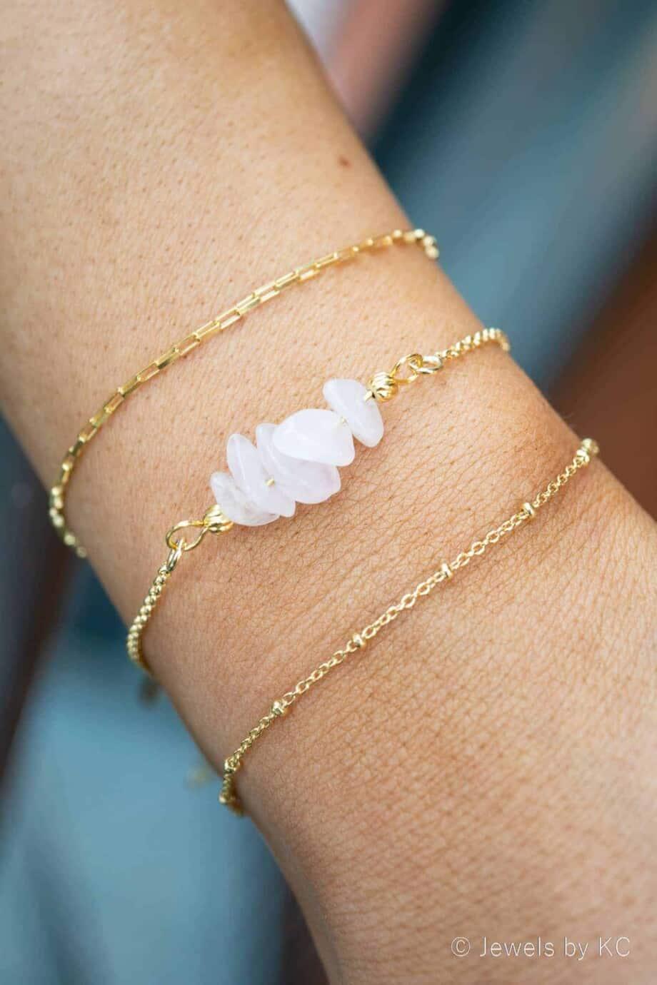 Gouden edelsteen armband met Rozekwarts chips van Goud op Zilver