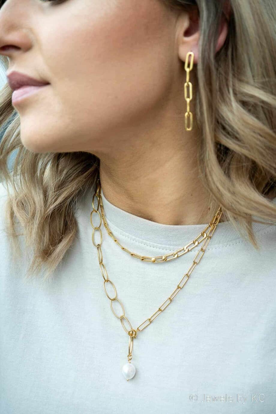 Gouden ketting 'Chain Pearl Chain' van Goldplated messing