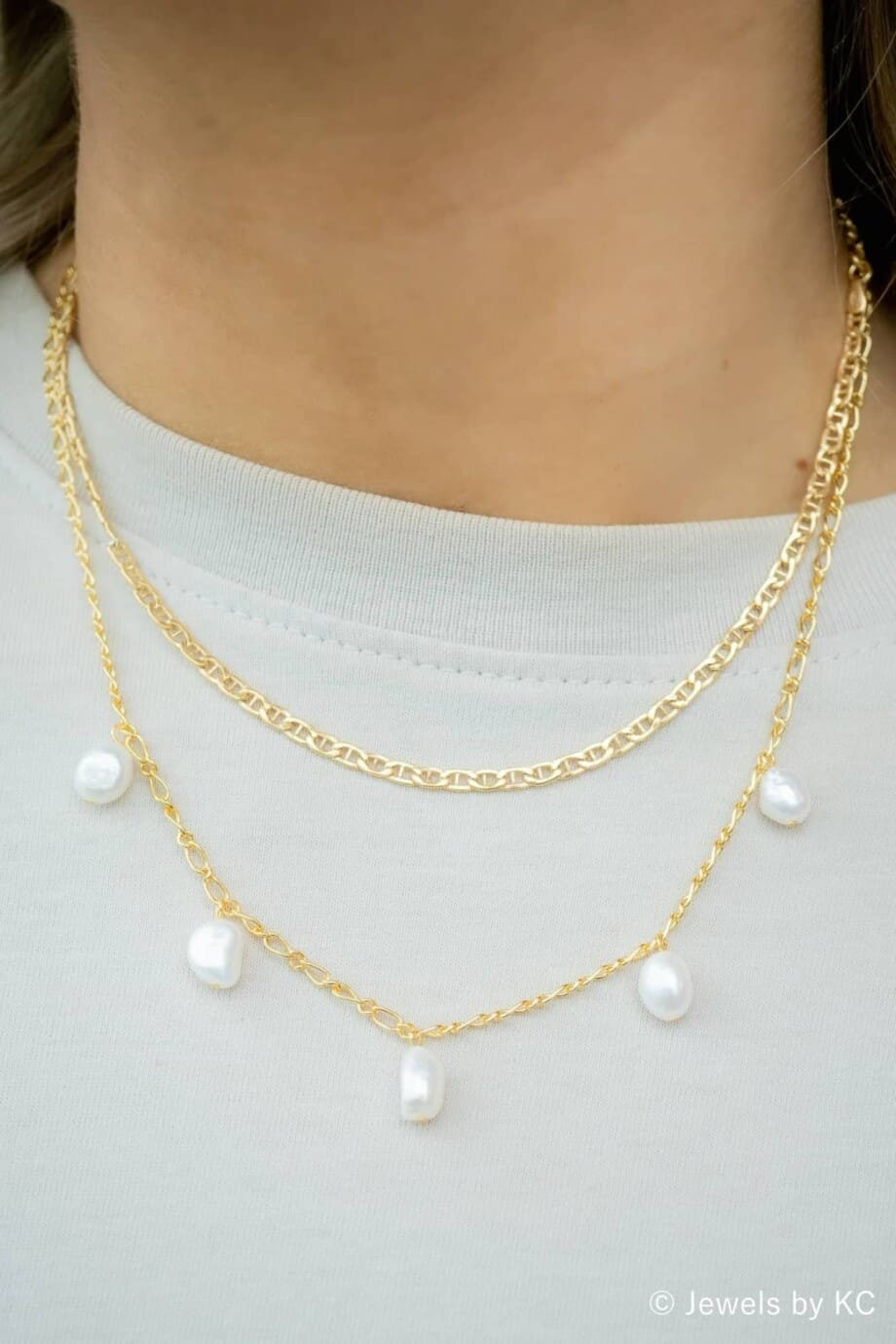 Gouden 'Hooked chain' ketting van Goud op Zilver