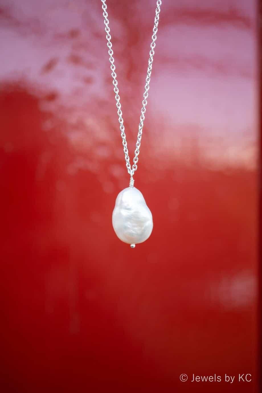 Zilveren ketting 'Coin Pearl' met Zoetwater parel van Sterling Zilver