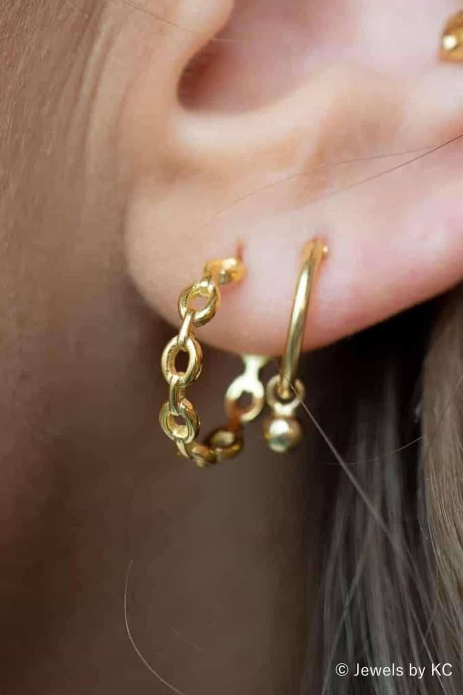 Gouden-Cable-chain-oorbellen-van-Goud-op-Zilver