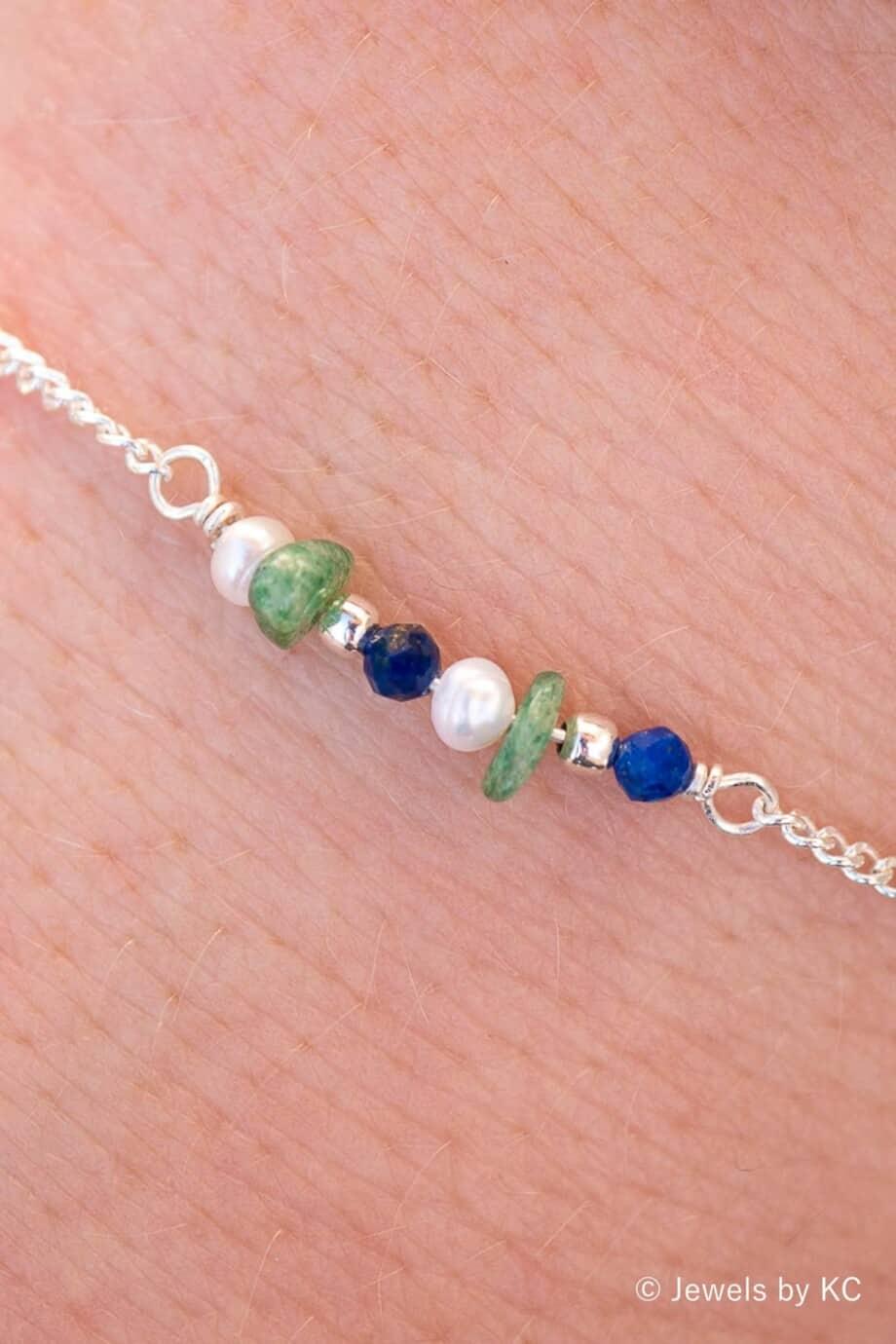 Zilveren edelsteen armband Blauwe Lapis Lazuli en groene Aventurijn van Sterling Zilver