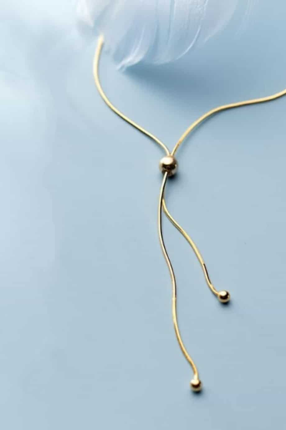 Gouden Y ketting 'Lariat' van Goud op Zilver