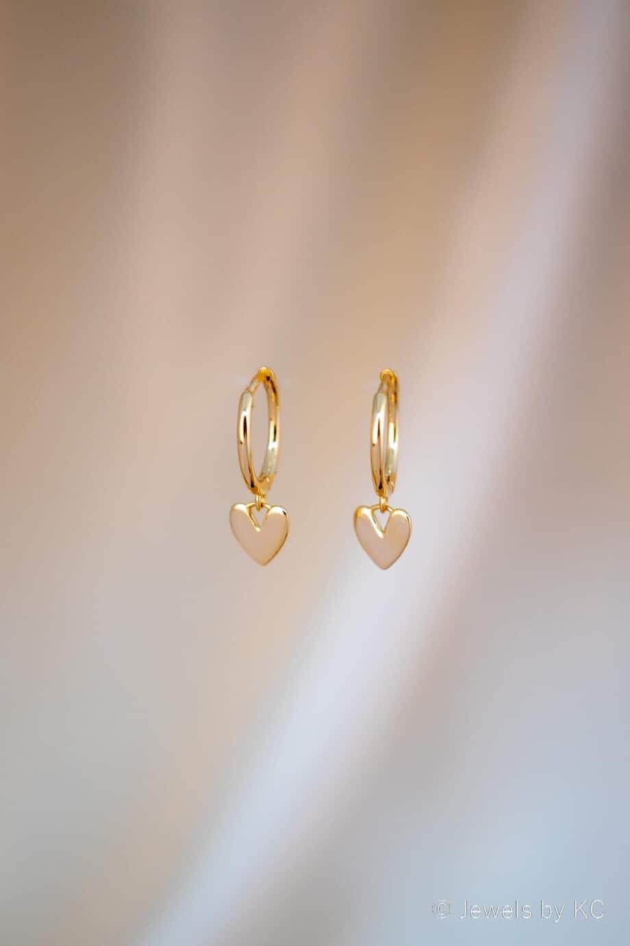 Gouden Hartjes oorbellen 'My heart' van Goud op Zilver