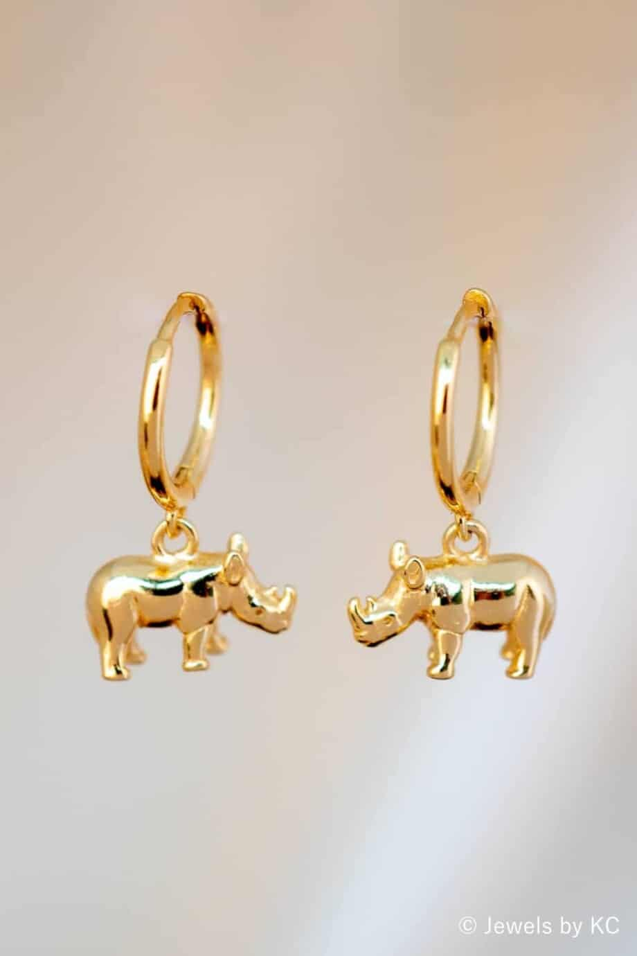 Gouden Neushoorn oorbellen van Goud op Zilver