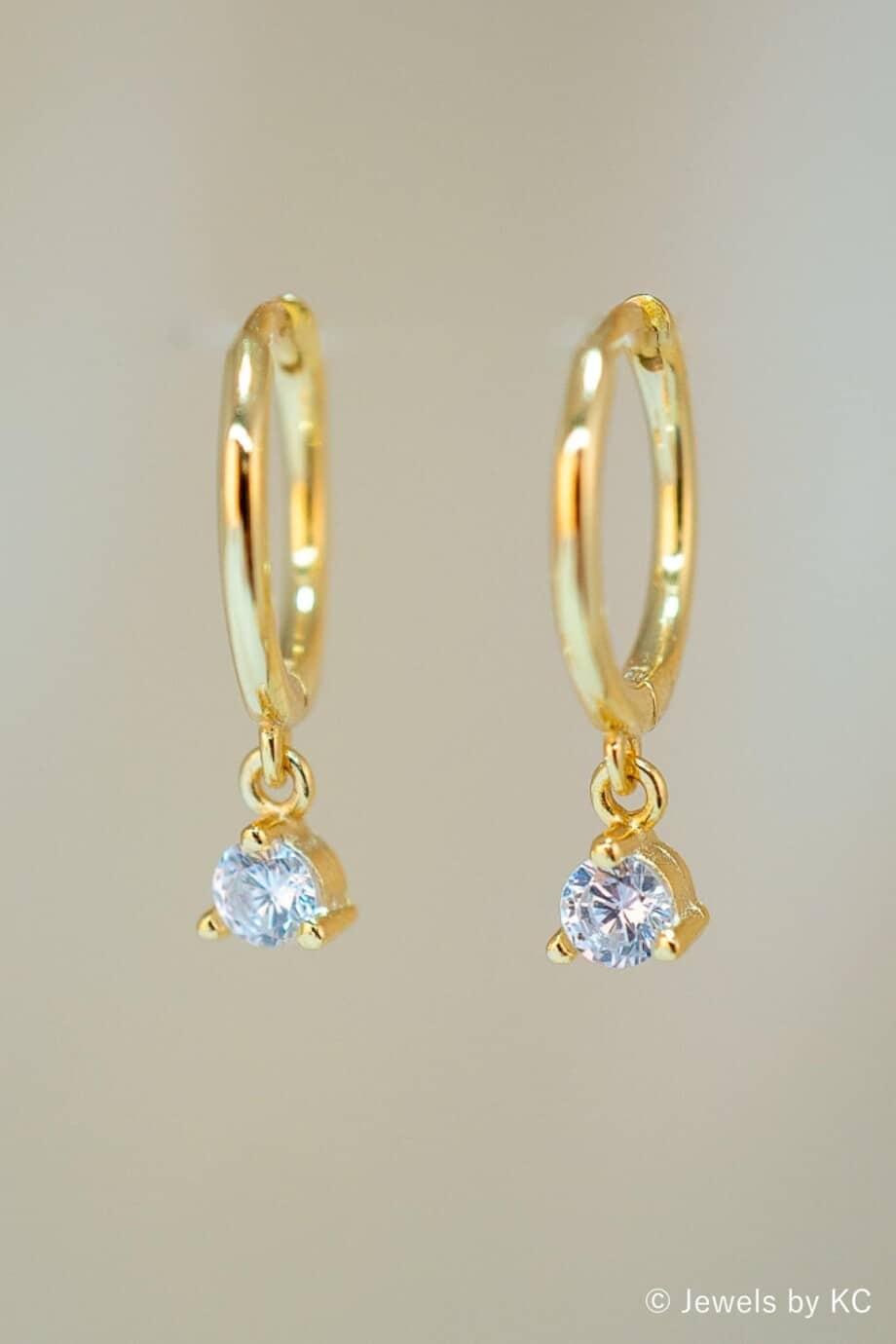 Gouden oorbellen 'Sparkle' met Zirkonia van Goud op Zilver