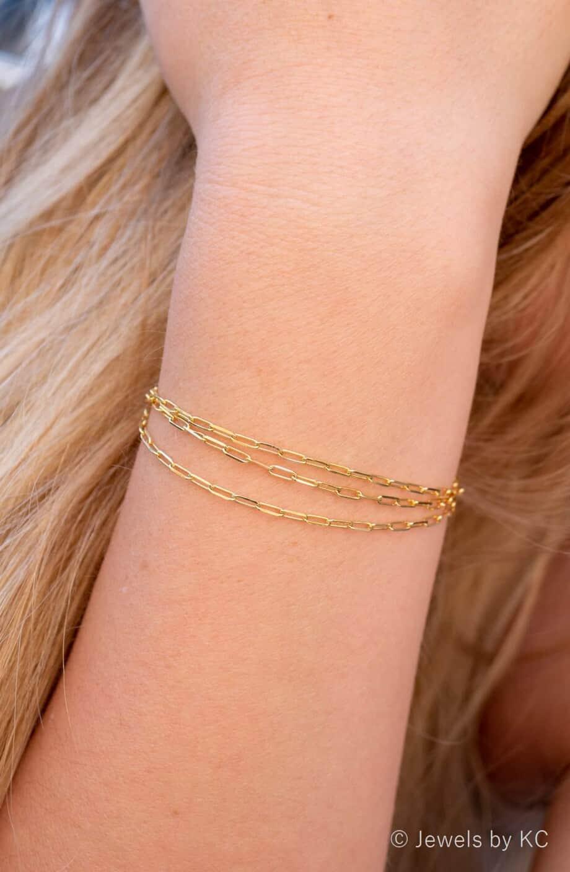 Gouden armband 'Triple Longbox' van Goud op zilver