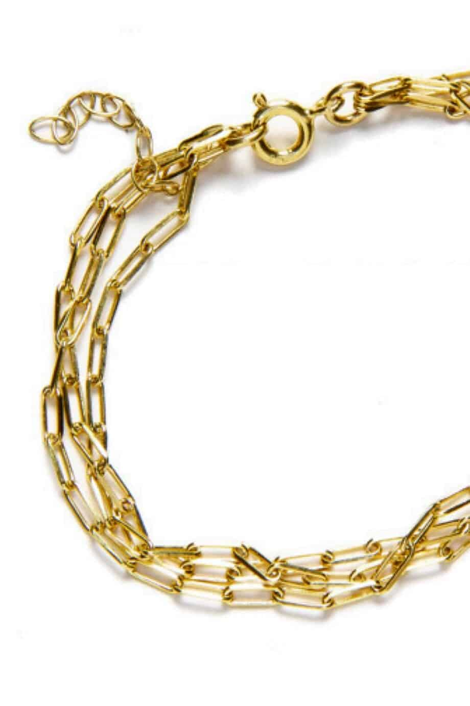 Gouden armband 'Triple Long box' van Goud op Zilver