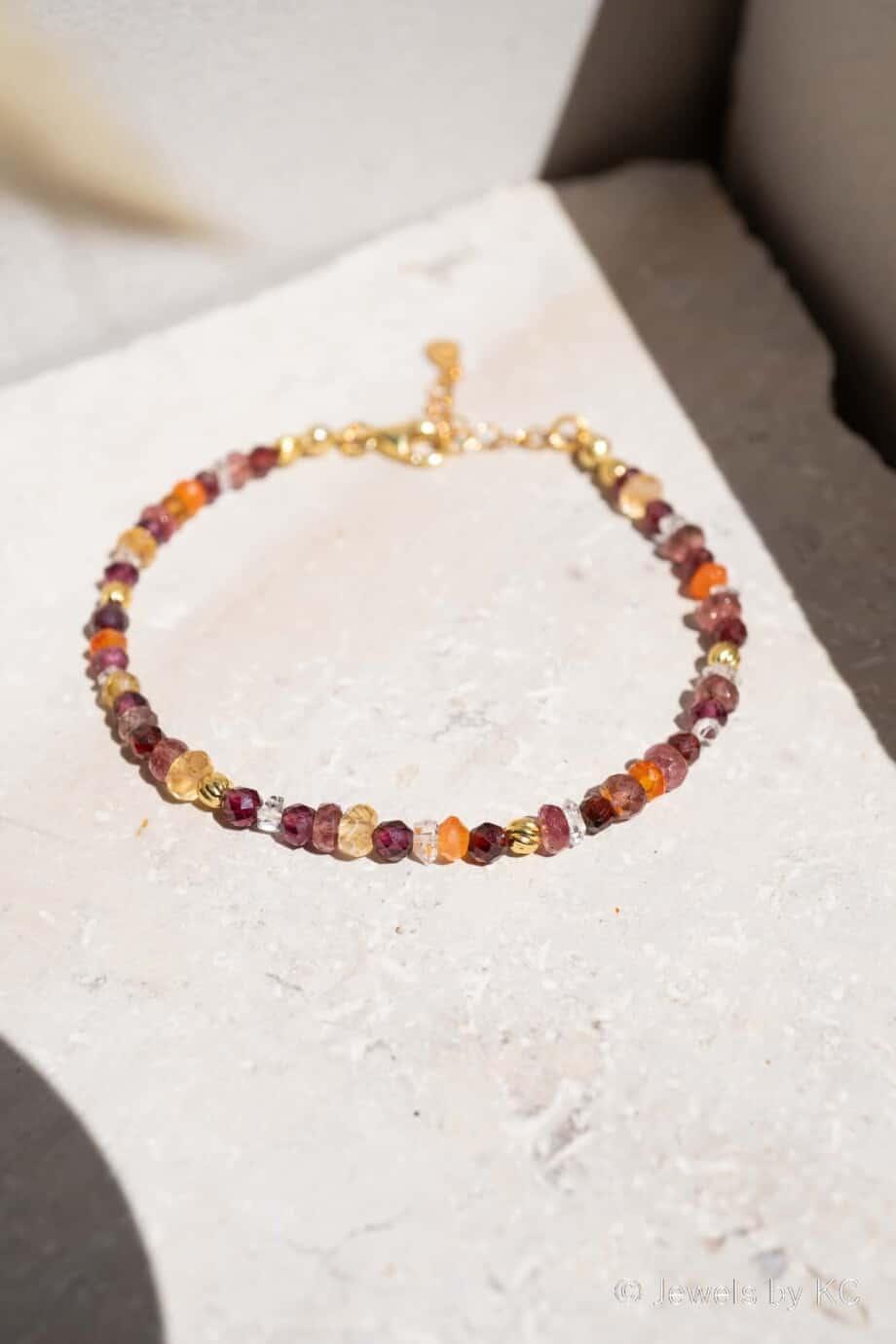 Gouden edelsteen armband Marrakesh van Goud op Zilver