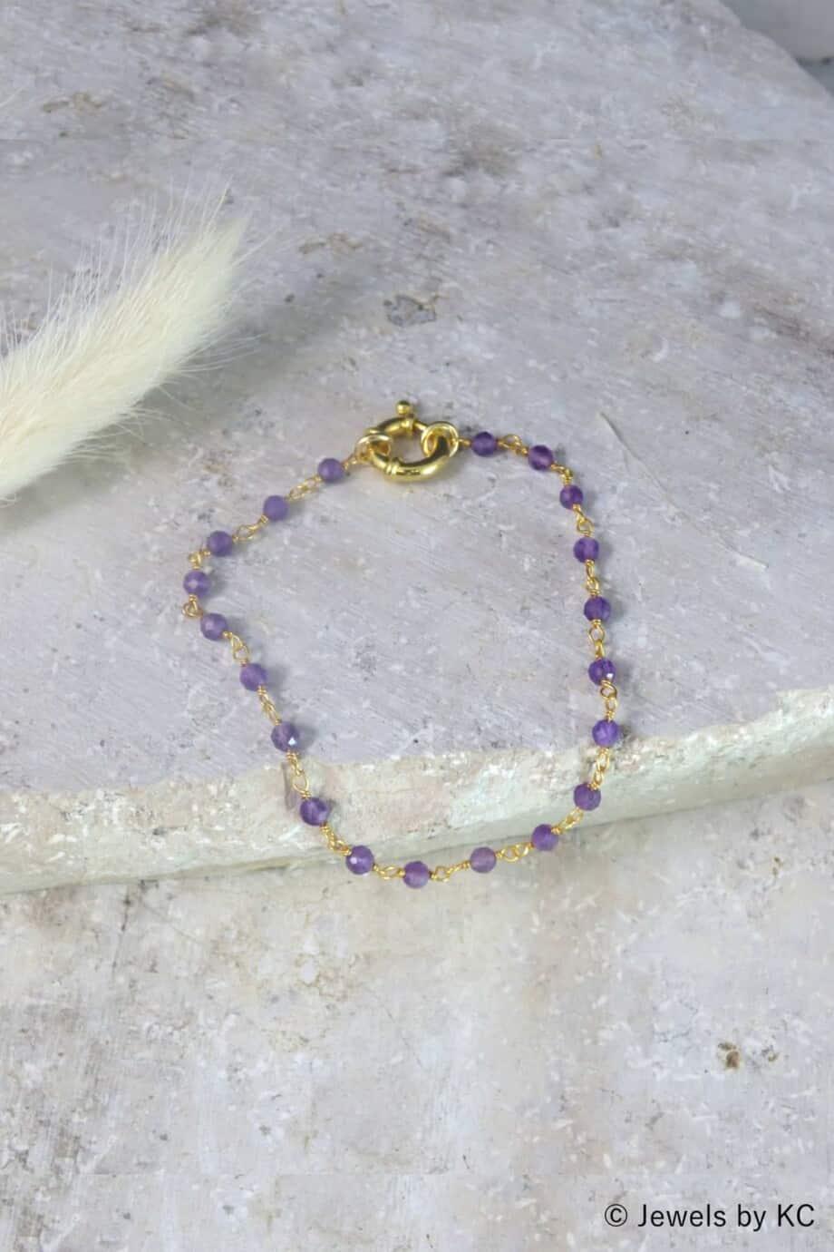 Gouden armband 'Rosary Amethist' van Goud op Zilver