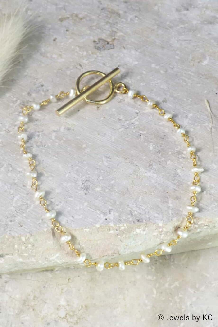 Gouden 'Rosary Pearl' armband van Goud op Zilver