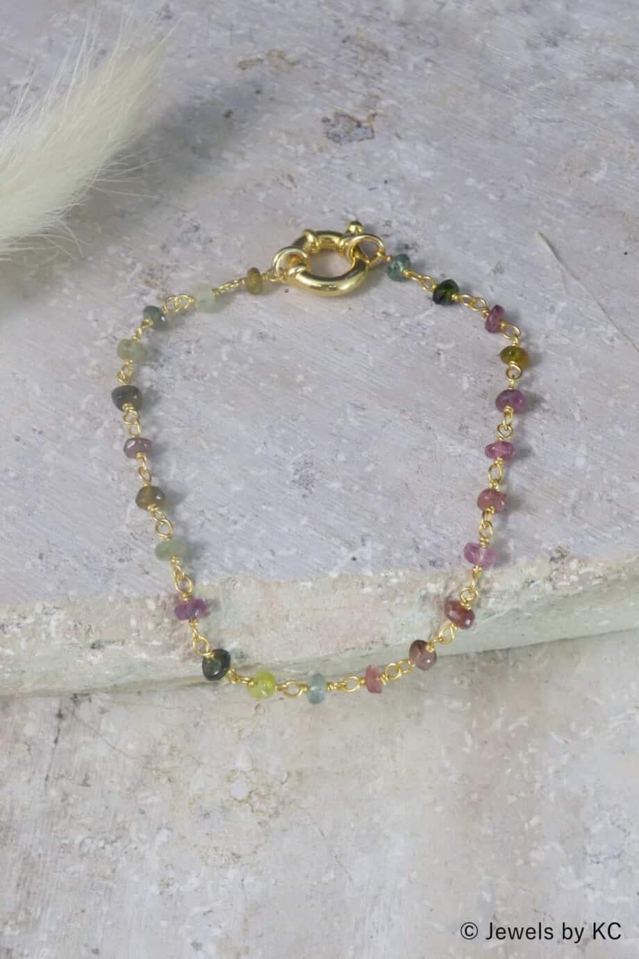 Gouden edelsteen armband 'Rosary Tourmaline' van Goud op Zilver
