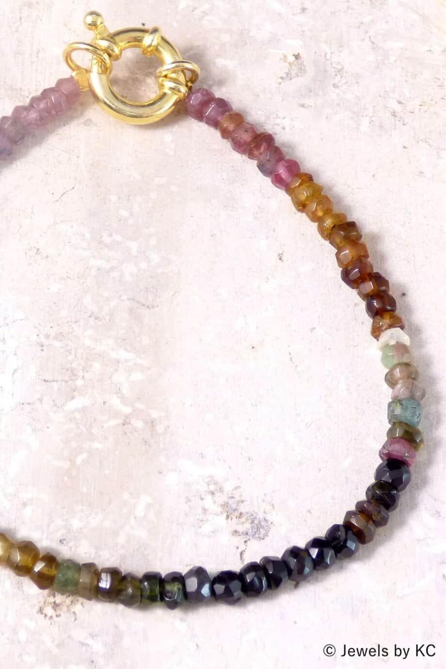 Gouden Toermalijn edelsteen armband van Goud op Zilver