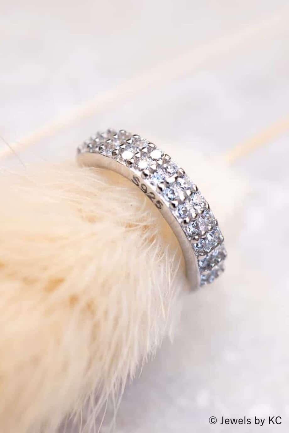 Zilveren ear cuff 'Glitter' van Sterling Zilver en Zirkonia