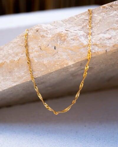 Gouden ketting 'Singapore chain' van Goud op Zilver