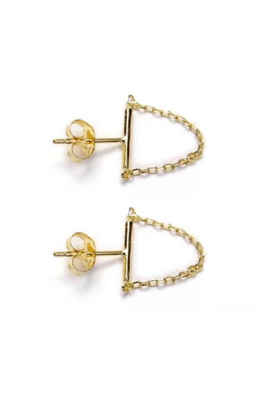 Gouden oorbellen 'Bar and chain' van Goud op Zilver