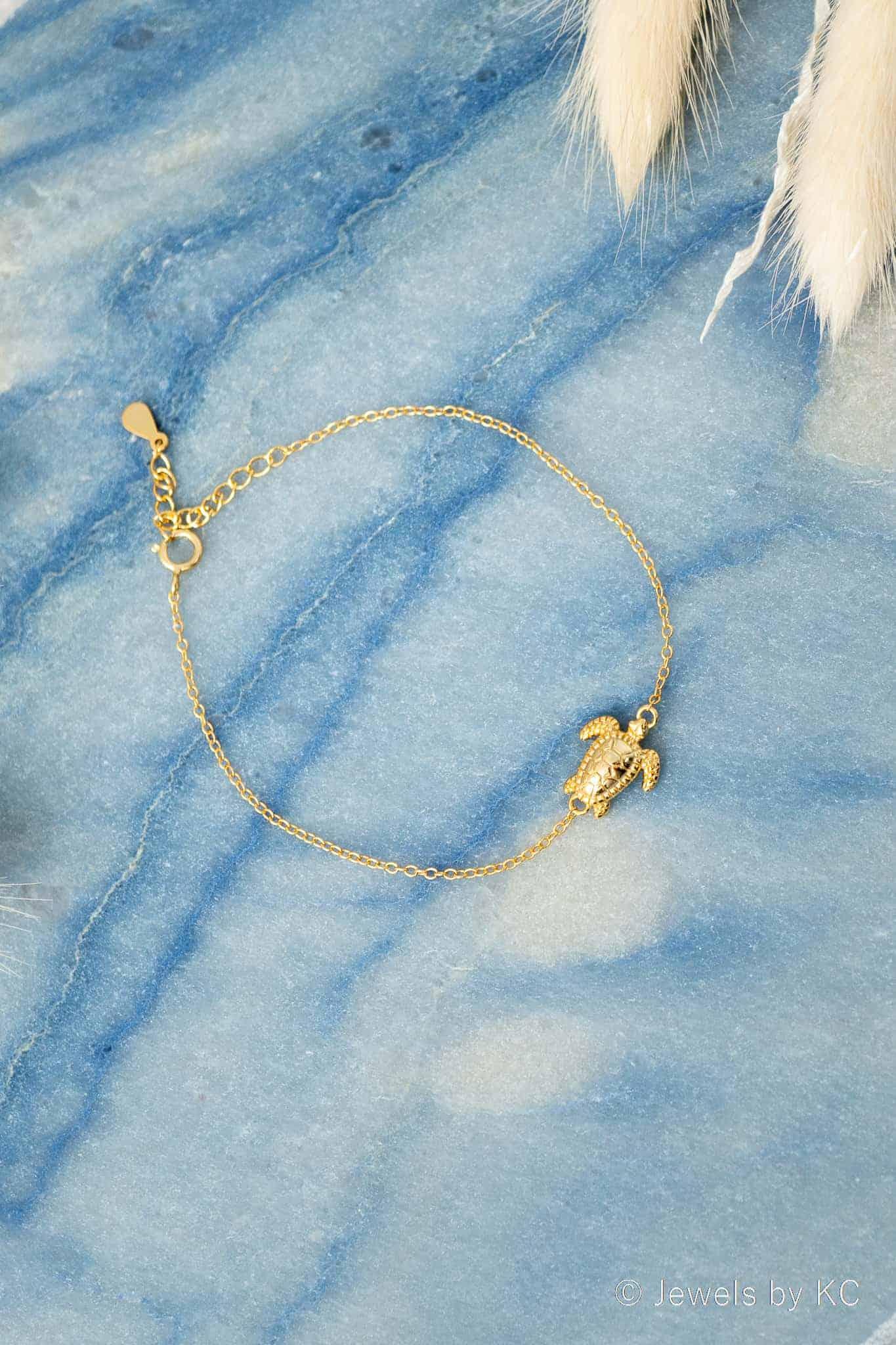 Gouden Turtle Schildpad armband van Goud op Zilver