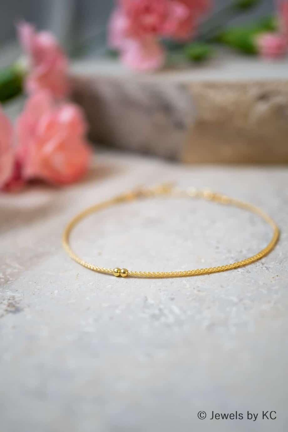 Dun creme koord armbandje Blanco met Gouden kraaltjes Goud op Zilver