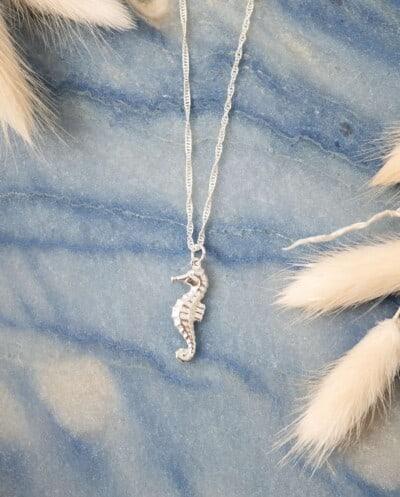 Zilveren Zeepaardje ketting met seahorse hanger van Sterling Zilver