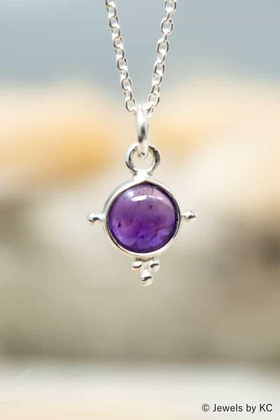 Zilveren paarse Amethist edelsteen ketting van Sterling Zilver